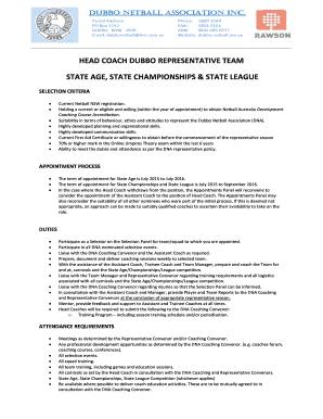 Head Coach Selection Criteria