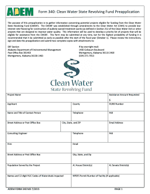 Clean Water Form 340 Clean Water State Revolving Fund