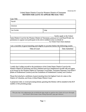 Leave Form Sample Format. Motion For Leave To Appear Pro Hac Vice   United  States District  Format Of Leave Form
