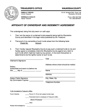 Affidavit of ownership and indemnity agreement - Waukesha County