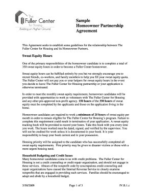 Partnership agreement forms and templates fillable for Sweat equity contract template