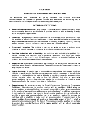 Reasonable accommodation agreement sample   Edit Online, Fill Out