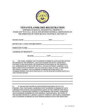 tenant landlord registration form