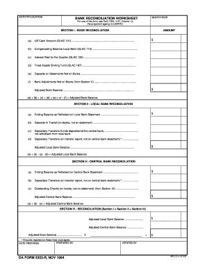 Bank reconciliation worksheet pdf