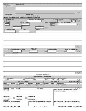 1801 Flight Plan - Fill Online, Printable, Fillable, Blank ...