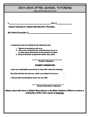 sample permission slips for students