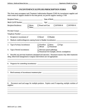 Fillable Online Incontinence Supplies Prescription Form PDF - Medi ...