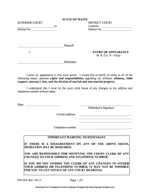 Bill Of Sale Form Maine Entry Of Appearance Form Templates ...