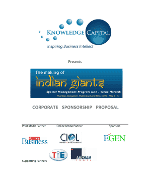 Corporate sponsorship proposal - Knowledge Capital Services