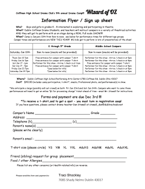 Information Flyer Sign up sheet - Dublin City Schools