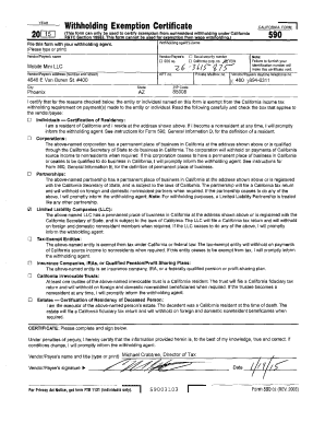 Fillable Online California Form 590 - Withholding Exemption ...