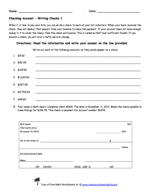 Reconciling a checkbook worksheet