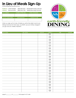 Sign Up Sheet - Housing Residential Services