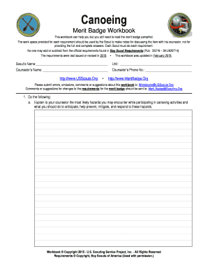 Canoeing Worksheets - US Scouting Service Project