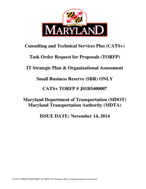 J01B5400007 IT Strategic Plan and Organizational Assessment TORFP J01B5400007 IT Strategic Plan and Organizational Assessment TORFP - doit maryland