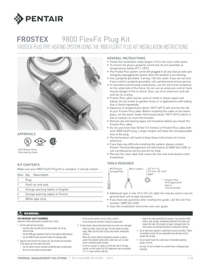Fillable Online Frostex 9800 Installation Instructions - Pentair