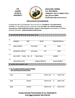 zambia catholic university application form