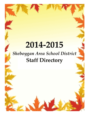 SASD Staff Directory Publication - Sheboygan Area School District