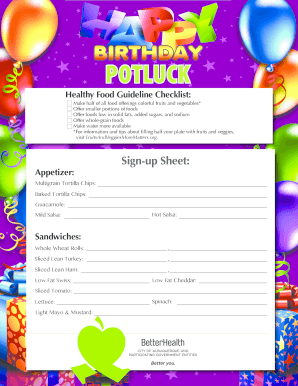 26 Printable Potluck Sign Up Sheet Forms And Templates