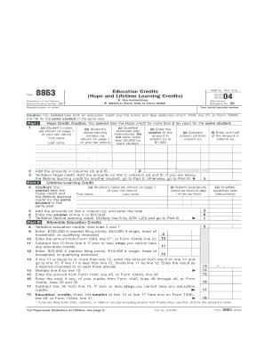 Printable Form 8863 instructions - Fill Online & Download in PDF ...