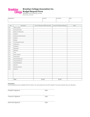 CD Budget Request Form - Brooklyn College Student Organization