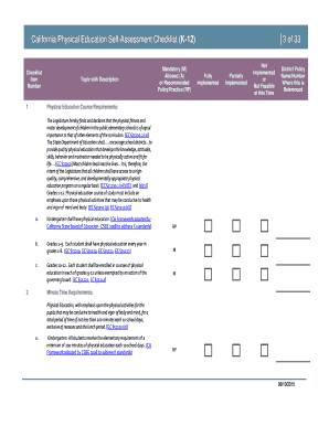 California Physical Education Program Self-Assessment Checklist - publichealth lacounty