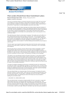 mortgage commitment letter conditions