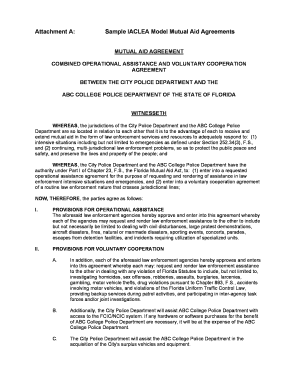 Attachment A: Sample IACLEA Model Mutual Aid Agreements - campus calcasa