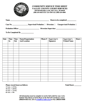 19 Printable community service hours log sheet template ... |Community Service Log Sheet For Court