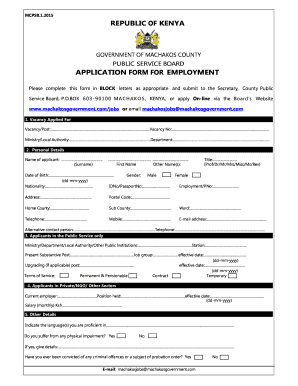 machakos county govement application forms for it jobs 2018 fill