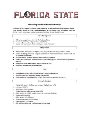 Marketing And Promotions Internships   Florida State University