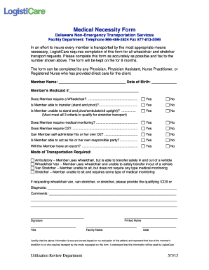 Fillable Online Medical Necessity Form - LogistiCare Fax Email ...