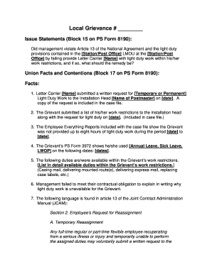 Fillable light duty restrictions letter templates to submit online 1104 proudqxd nalc titletown branch 619 platinumwayz