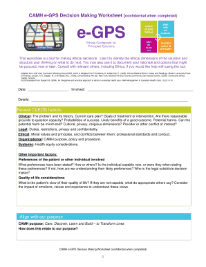 Fillable Online CAMH e-GPS Decision Making Worksheet confidential ...