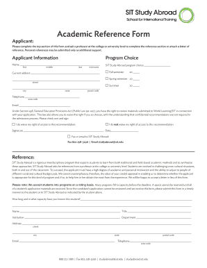 academic reference form sit study abroad