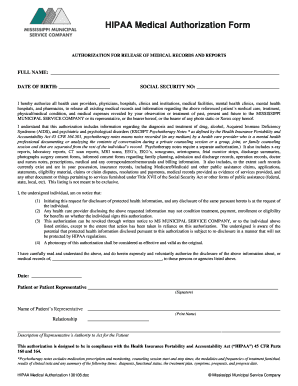 HIPAA Medical Authorization Form PDF - Mississippi Municipal