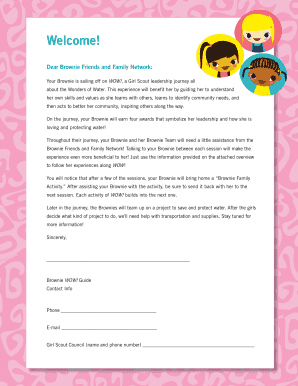 brownie wonders of water welcome letter for parents scouting web
