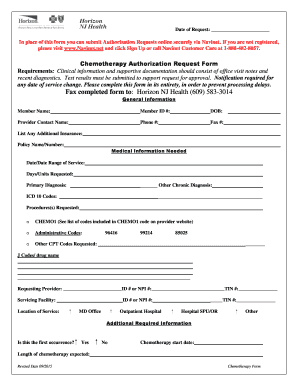 Fillable Online Chemotherapy Authorization Request Form
