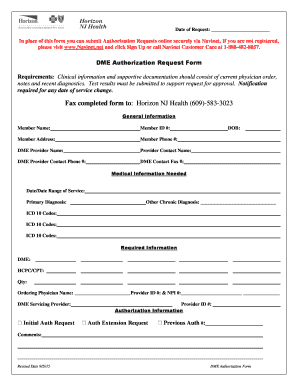 Fillable Online DME Authorization Request Form - Horizon NJ