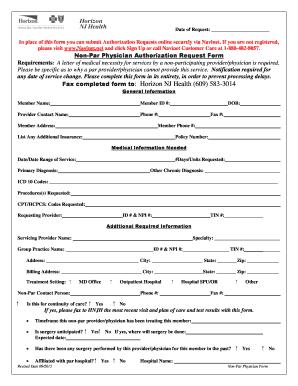 Fillable Online Non-Par Physician Authorization Request Form ...