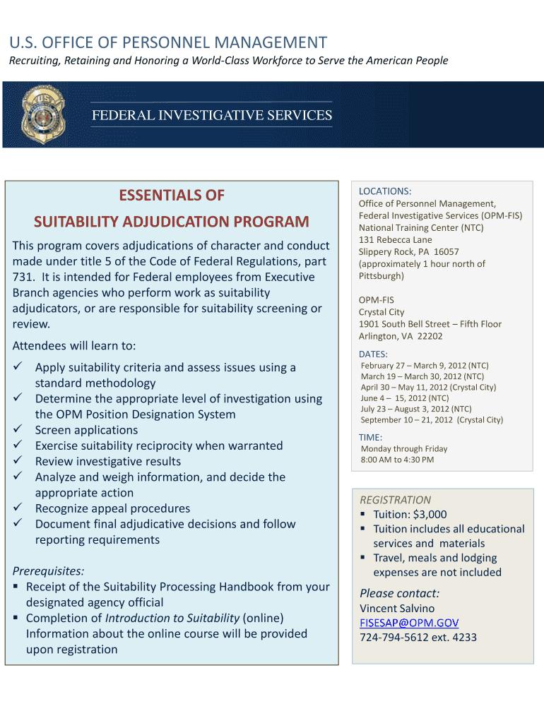 SUITABILITY ADJUDICATION PROGRAM Fill Online, Printable