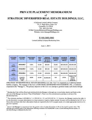 Editable real estate private placement memorandum - Fill Out