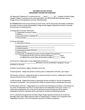 Simple Independent Contractor Agreement Template Editable