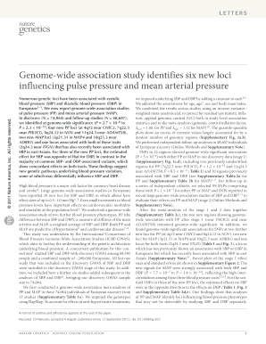 Genome-wide association study identifies six new loci influencing pulse pressure and mean arterial pressure Nature Genetics 2011 doi