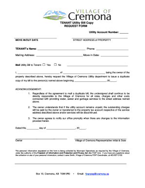 Fillable Online TENANT Utility Bill Copy REQUEST FORM Fax Email