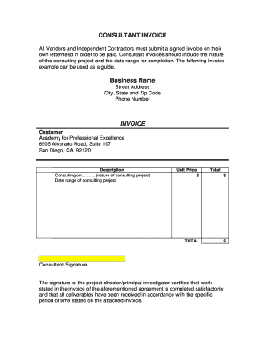 Consultant invoice template - Online Invoices