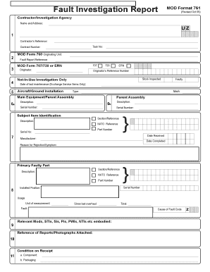 Fillable Online Fault Investigation Report MOD Format 761 Fax Email Print