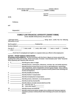 19 Printable Family Law Financial Affidavit Florida Forms And