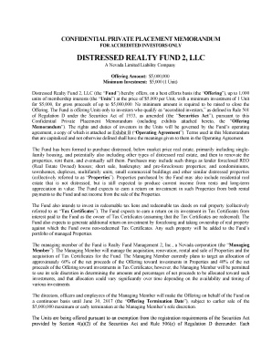 Distressed Realty Fund 2, LLC Private Placement Memorandum