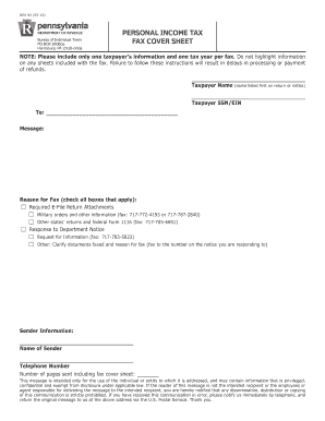 Personal Income Tax Fax Cover Sheet DEX 93 Personal Income Tax Fax Cover Sheet DEX 93